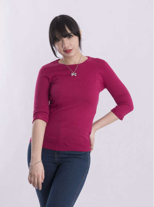 3/4 Sleeves Ribbed Sweater