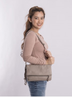 Leather hand bag with strap