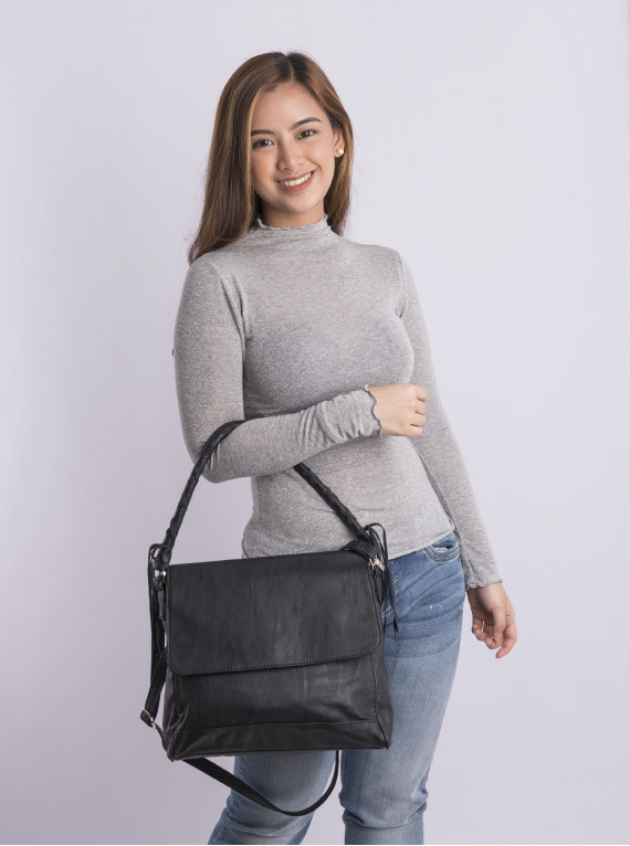 Faux leather one long hand strap bag