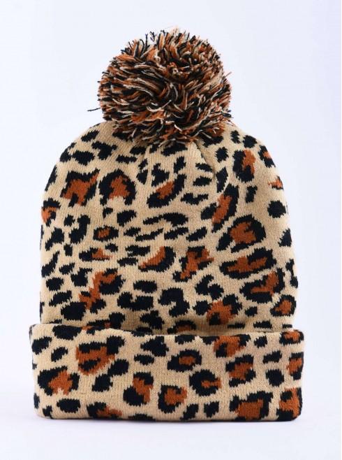 Leopard hat with pom-pom