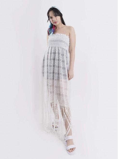 Lace Off Shoulder Tube Dress