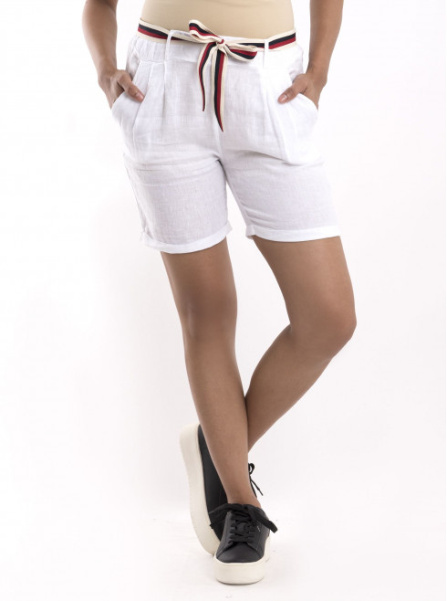 Linen Shorts With Bow Belt