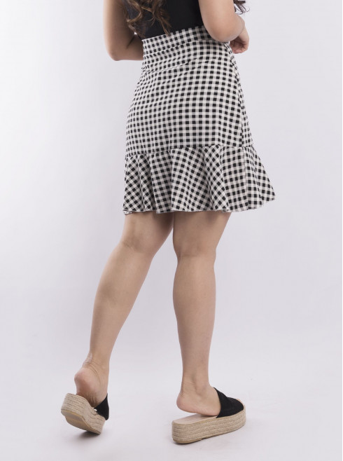 Side tie wrap check skirt