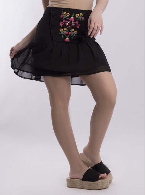 Skirt With Embroided
